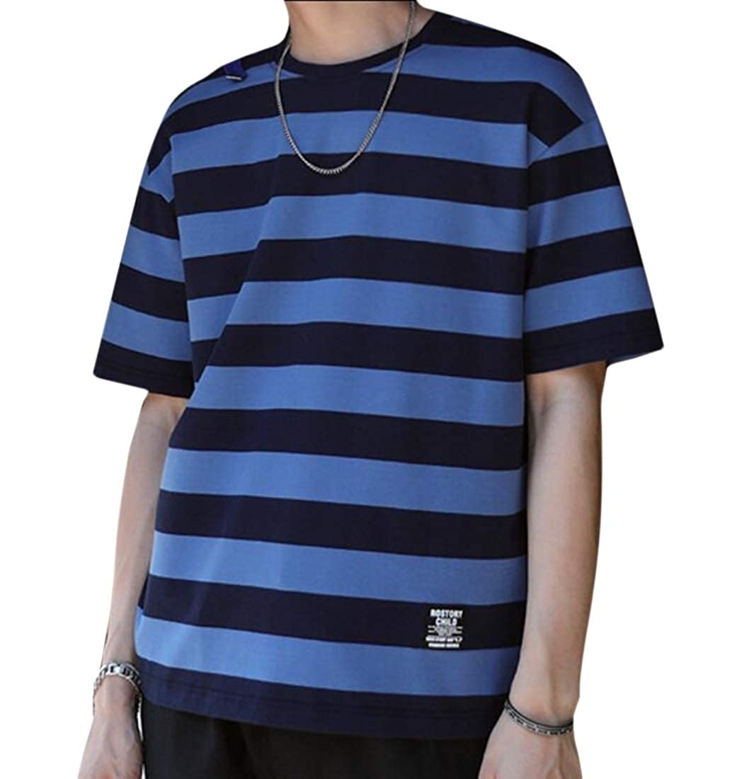 Tymhgt Mens Tees Short Sleeve Hipster Stripe Crewneck Jersey T-Shirt