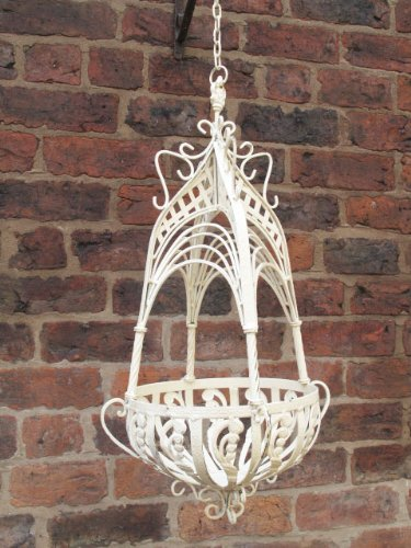 Charmant French Shabby Chic Distressed Antique Cream Wrought Iron Metal Garden  Hanging Basket Planter