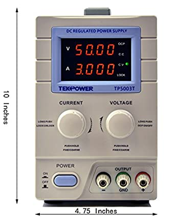 Tekpower TP5003T Variable DC Power Supply, Linear Output for Labs and  Science Research, Power Cord and Alligator included