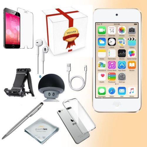 (Apple iPod Touch 6th Generation Music Player, 128GB -Gold- w/iTouch Accessory Kit Includes; Bluetooth Speaker w Clear Case & Screen Protector w iPod 5-Angle Adjustable Stand w iPod Stylus Pen w Cloth)