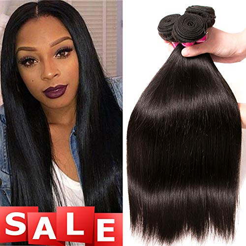 QinMei Brazilian Straight Hair 3 Bundles 8A 100% Virgin Unprocessed Human Hair Weave Extensions Brazilian Remy Straight Human Hair Bundles Natural Black Color (14 16 18 inch) (Best Selling Hair Extensions)