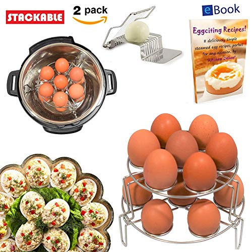 PREMIUM Egg Rack Steamer - 14 Eggs - STACKABLE 2-Tier - BEST Bundle - Fits Instant Pot Pressure Cooker 6 Qt & 8 Quart - 100% Stainless Steel - BONUS Accessories - Slicer + eBook | For Instapot -Insert