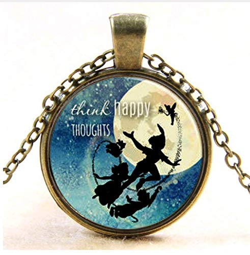 Dream Necklace,Think Happy Thoughts Gift, Inspirational Jewelry Quotes Words Positive Thinking Art -