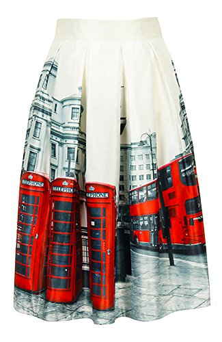 Women London Street Skater Skirt Telephone Boxes and Bus Printed A-Line -