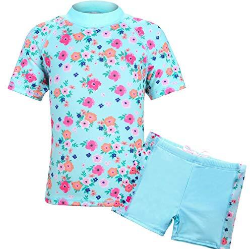 TFJH E Kids Girls Swimsuits Short Sleeve Rashguard Sunsuits 2pcs UV 50+, Aqua Little Flower ()