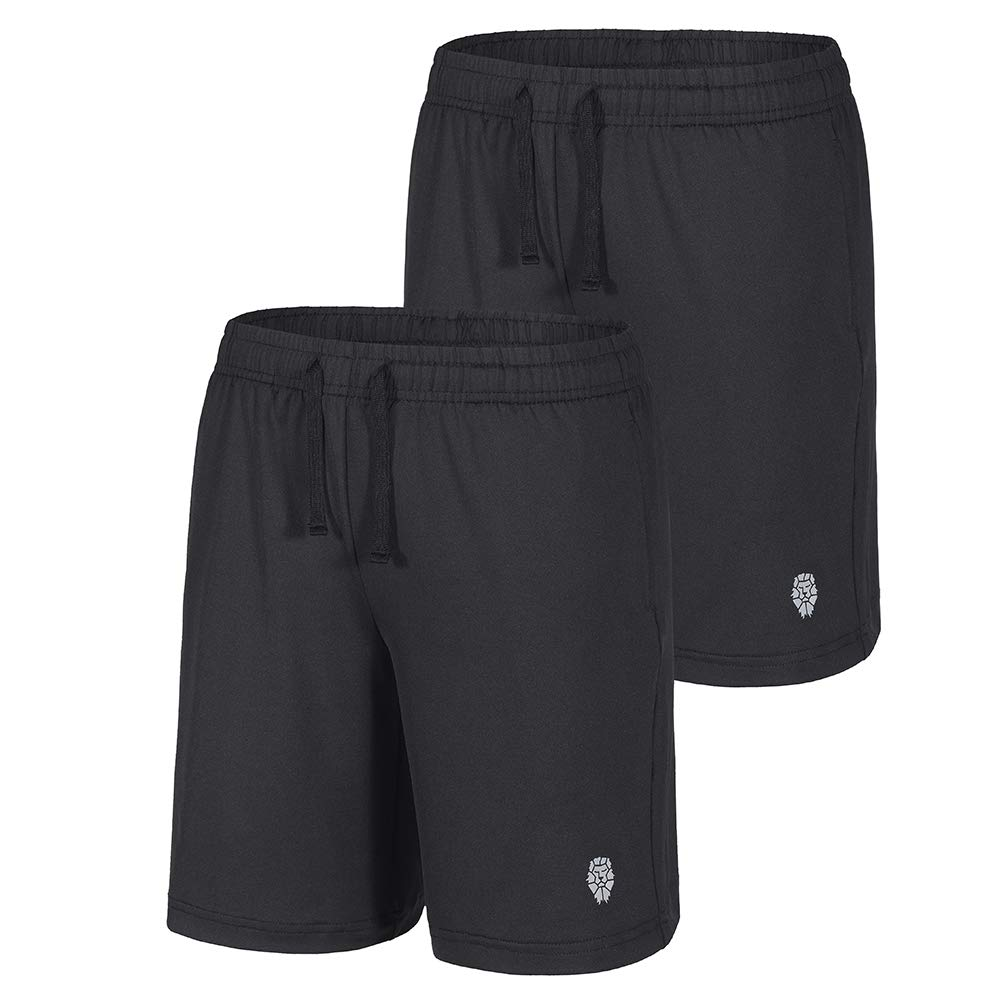 PIQIDIG Youth Boys' Loose Fit Athletic Shorts Quick Dry Active Shorts with Pocket, 2-Pack Black XS
