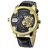 GOER Golden Bezel Two Time Zone Quartz Mechanical Sport Men's Automatic Watch - Black