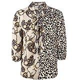 Leopard Print V-Neck Blouse Shirt Three Quarter Sleeve Patchwork Blouse Shirt Women Tops,Khaki,XXL