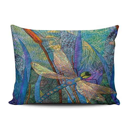 ANLIPU Personalized Decorative Pillowcases Colorful Dragonflies Throw Pillow Covers Cases Lumbar Rectangular Size 12x20 Inches Print on One Side