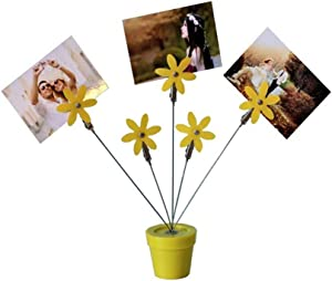 Run Pack of 1 Plastic Flower Pot Shape Desktop Photo Holder Picture Stand with Five Metal Clips Clamps (Yellow-Green)