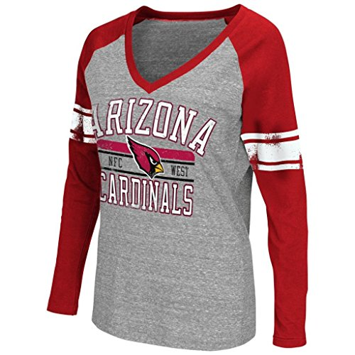 NFL Women's G-III 4her Tri-blend Distressed Logo V-Neck Long Sleeve T-Shirt (Large, Arizona ()