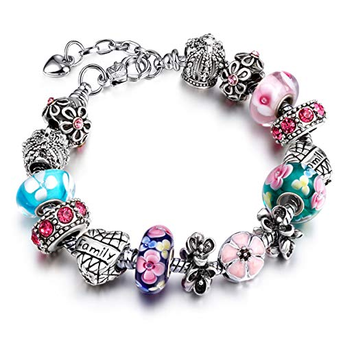 Alaxy Charm Bracelets for Women Bangle Bracelet Charm Beaded Bracelets with Rhinestone Glass Beads Birthday Party Jewelry (AA81 19CM, 7.5)