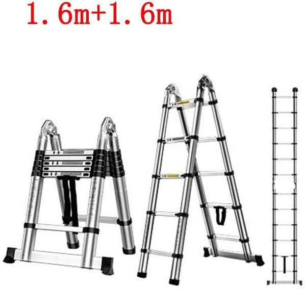 QARYYQ Escalera telescópica hogar multifunción Plegado Interior ingeniería de elevación Espiga Recta Escalera de Aluminio Doble aleación Taburete (Size : 1.9m+1.9m): Amazon.es: Electrónica