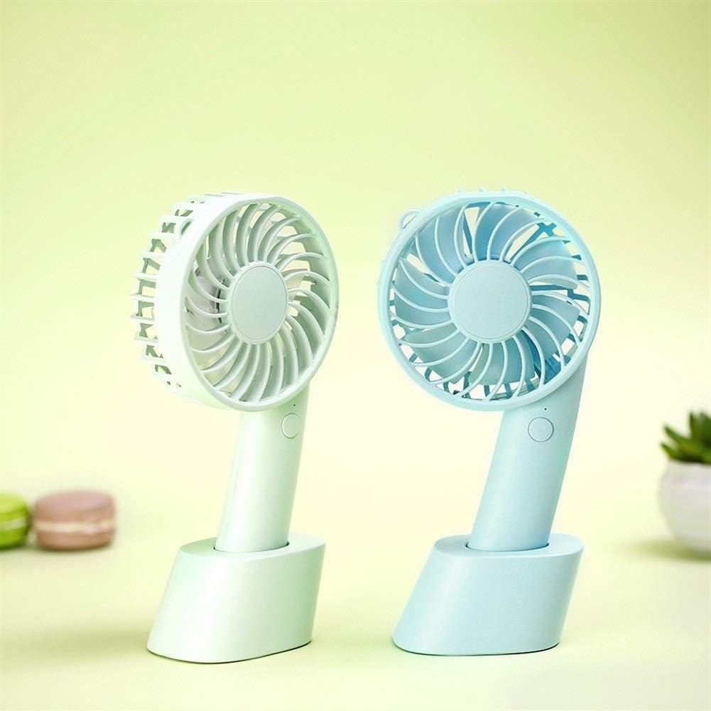 Color : Blue Air Cooler Handheld Fan Outdoor Mini Portable Summer Desktop Detachable Base USB Electric Fan