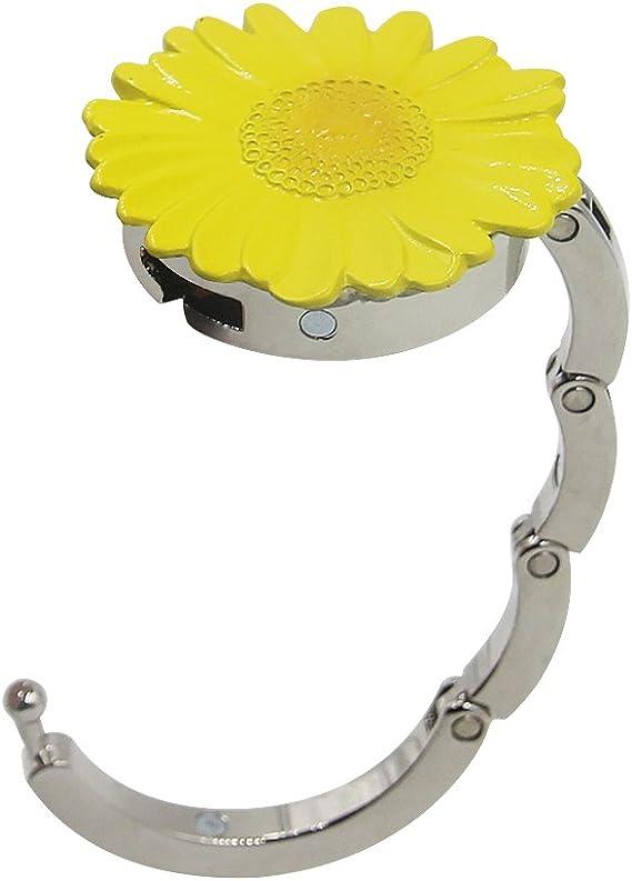 Sunflower 2pcs Designed Purse Hook Round,Metal Handbag Folding Hangers Handbag Table Hanger for Women Bags