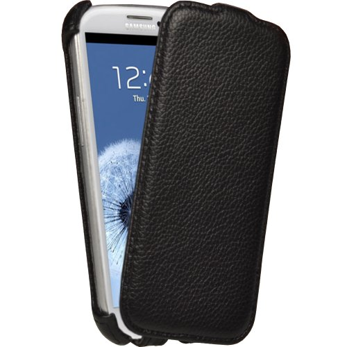 iGadgitz Black Leather Flip Case Cover Holder for Samsung Galaxy S3 III i9300 Android Smartphone Cell Phone (Compatible with all carriers incl AT&T, Sprint Nextel, T-mobile & Verizon Wireless) by igadgitz