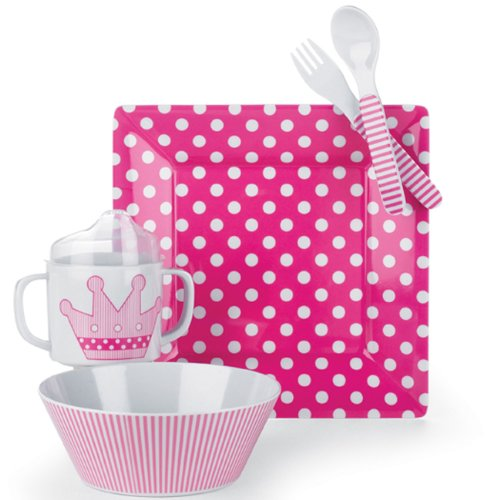 Mud Pie Baby Little Princess Polka-Dot, Stripe and Crown Plate, Bowl, Cup, Fork, and Spoon Feeding Set, Pink, Health Care Stuffs