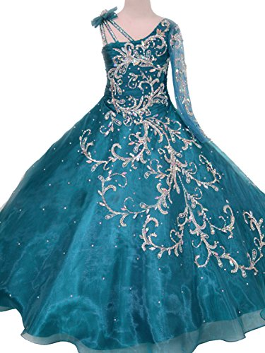 2018 One-Sleeve Asymmetric Neckline Ball Gowns Pageant Dress for Girls 6 US Teal