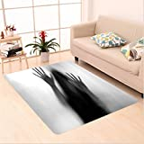 Nalahome Custom carpet r House Decor Silhouette of Woman behind the Veil Scared to Death Obscured Paranormal Photo Gray area rugs for Living Dining Room Bedroom Hallway Office Carpet (6.5' X 10')