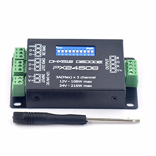 Fishagelo PX24506 DMX 512 Decoder Driver Amplifier Controller for RGB LED Strip Light DC12V-24V