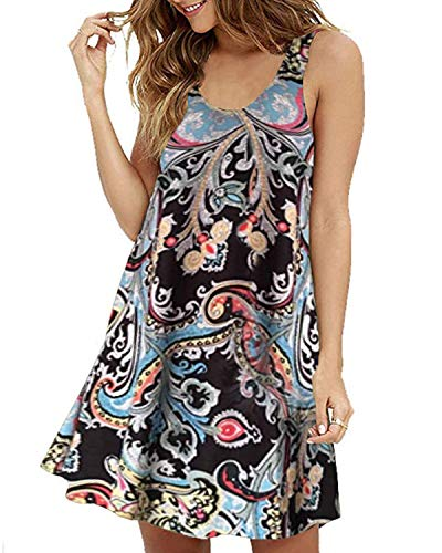 ZANZEA Women's Sleeveless Swing Summer Beach Floral Print Mini Dress Round Neck Simple T-Shirt Black 8