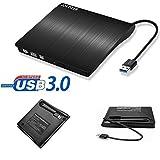USB 3.0 Ultra Portable DVD Drive Burner, External Slim DVD +/-RW Burner Writer DVD CD ROM Drive for Apple Mac Macbook Pro, Windows 10 and 8 Laptop Desktops (black)