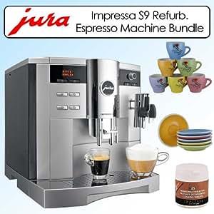 Jura Impressa S9 One Touch 96oz Espresso Machine Platinum Metallic Refurbished 1342399 Bundle With Espresso Cups-Saucers Set & Cleaning Tablets