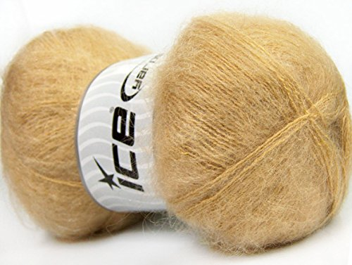 Light Brown Mohair (Lot of 4 x 100gr Skeins ICE BERMUDA MOHAIR (70% Mohair) Yarn Light Brown)