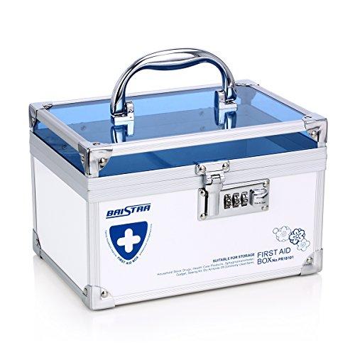 AZDENT Combination Lock Medicine Box with Compartments Medication Storage Box Small Medicine Cabinet Blue