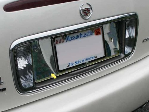 QAA FITS DEVILLE 2000-2005 CADILLAC (1 Pc: Stainless Steel License Plate Bezel, NOTE: BEZEL BEHIND LICENSE PLATE ONLY, DOES NOT INCLUDE LIGHT SURROUND, 4-door) LP40245 - License Plate Bezel
