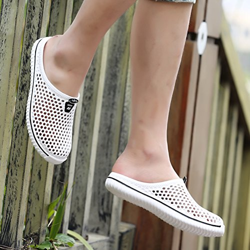 MEAYOU Unisex Quick-Dry Garden Beach Yard Pool Mule EVA Clogs Shoes Lightweight Walking Sandal Non-Slip Slippers for Men Women White IYomiHj