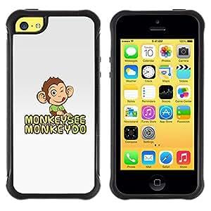 "Pulsar iFace Series Tpu silicona Carcasa Funda Case para Apple iPhone 5C , El mono ve Do gris feliz linda del dibujo"""