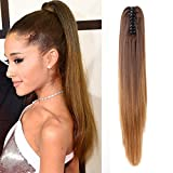 Neverland Beauty 20''(50cm) Ombre Two Tone Long Straight Clip in/on Wavy Ponytail Pony Tail Hair Extension Hairpiece Claw Medium Brown to Light Brown