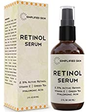 Retinol Serum 2.5% for Face & Eyes (2 oz) with Vitamin A, E, Hyaluronic Acid & Green Tea for Anti-Aging, Fine Lines & Wrinkles. Best Brightening Facial Serum for Day & Night use by Simplified Skin