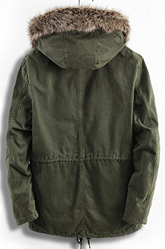 Fur Parkas Sleeve Hooded Faux amp;S M Mens Jackets Green amp;W Long Coats c7SWSz0w4q