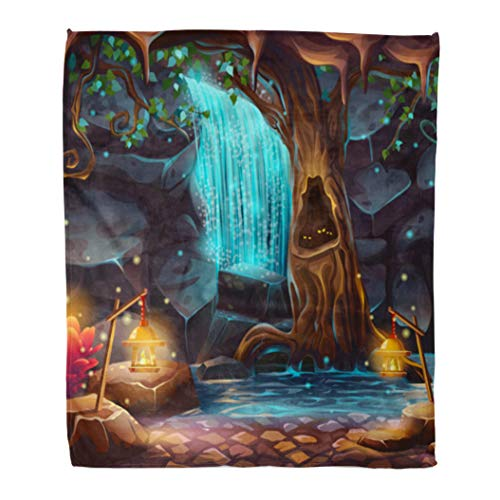 Emvency Throw Blanket Warm Cozy Print Flannel Cartoon of Magical Waterfall in Grotto Under The Crown Spreading Tree Comfortable Soft for Bed Sofa and Couch 60x80 Inches