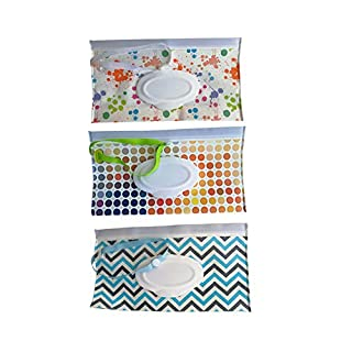 Reusable Eco Friendly Durable Portable Wet Wipe Pouch, Travel Wipes Bag Travel Wipes Dispenser Wipe Pouches Baby Wet Wipe Cases (3 Pack Different Colors)
