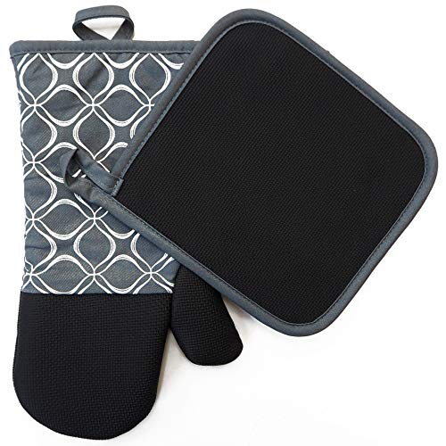 EnjoyLife Inc Shaped Oven Mitts Pot Holders Set of 2 Kitchen Set Cotton Neoprene Silicone Non-Slip Grip, Heat Resistant, Oven Gloves BBQ Cooking Baking, Grilling, Machine Washable (Grey Neoprene)