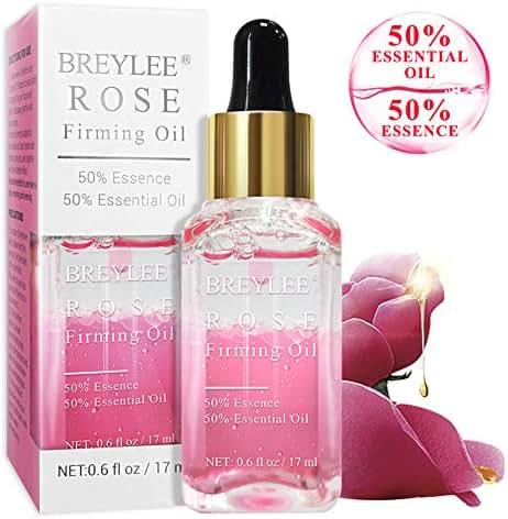 Rose Facial Serum, BREYLEE Firming Facial Oils with Hyaluronic Acid Anti-Aging Serum for Moisturizing Whitening Face Skin Care (17ml, 0.61oz)
