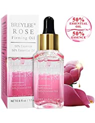 Rose Essential Oil, BREYLEE Firming Essential Oils with Hyaluronic Acid Anti-Aging Facial Serum for Moisturizing Whitening Face Skin Care (17ml, 0.61oz)