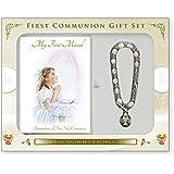 Conjunto Misal y pulsera de rosario con cáliz de Regalo para niñas de primera Comunión y tarjeta de oración de Lourdes (C5160).