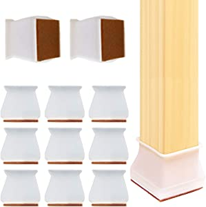 24 Pack Chair Leg caps Square, Silicone Chair Leg Floor Protectors Furniture Protection Cover with Felt Pads Anti-Slip Chair Floor Pads (Transparent)