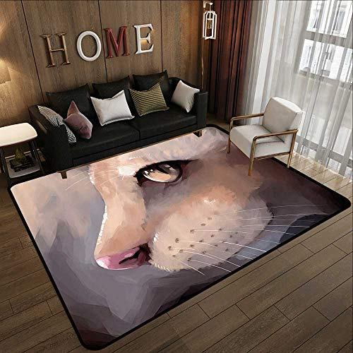 - Printed Carpet,Cat Lover Decor,Illustration Cat Portrait Kitty Zoom Face Big Eyes Whiskers Meow Contemporary Artful Design,Cream 78.7