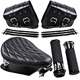 Black Combo Solo Seat Diamond Style + Saddlebags PU Leather + Hand Grips w/throttle Compatible with 1993-2019 Harley Sportster XL 883 1200