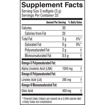 Barlean's Lignan Flax Oil - Softgels - 100 ct. (Pack of 3)