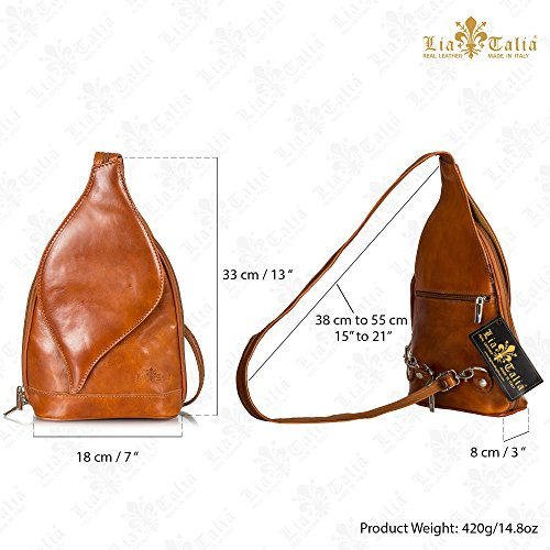 Rucksack Brown Small LIATALIA Backpack Bag Womens Hot Leather Pink Shoulder Duffle Real Italian KIM wOC0ax5qpO