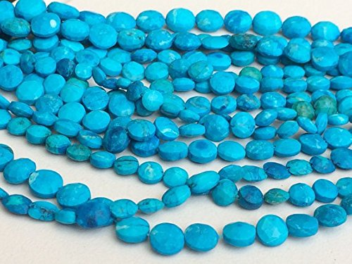 - JP_Beads 1 Strand Natural Turquoise Faceted Coin Beads, Chinese Turquoise Beads, Turquoise Necklace 6-10mm, 4 inch