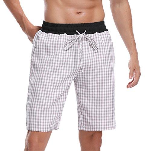 Hawiton Men's Pajama Sleep Shorts Lounge Sleepwear Causal Cotton Plaid (Cotton Plaid Trousers)