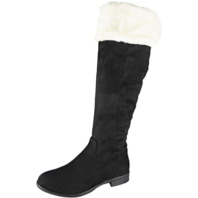 59672dda1468 Womens Knee High Boots Faux Fur Lined Long New Low Heel Casual Ladies Shoes  Size 3