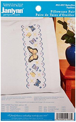 Janlynn Butterflies Pillowcase Pair Stamped Cross Stitch, 20
